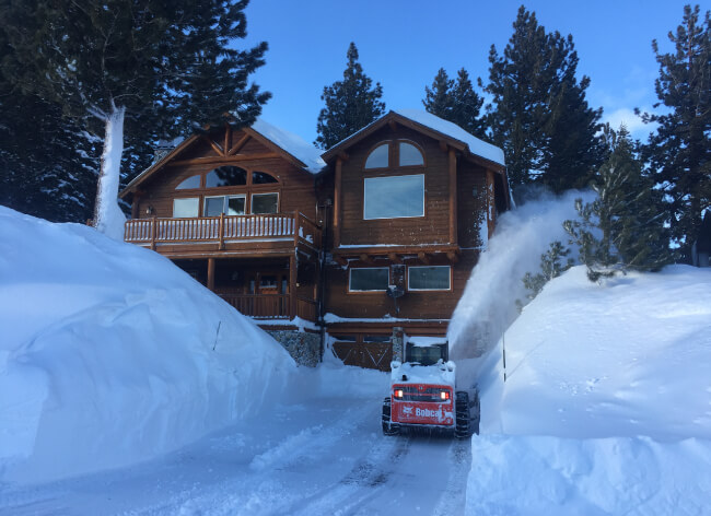 snow removal, snow cats and shoveling snow in Mammoth Lakes